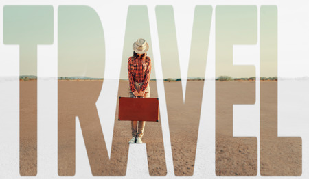 the double: Double exposure word travel combined with image of traveler woman with suitcase on road. Concept of travel