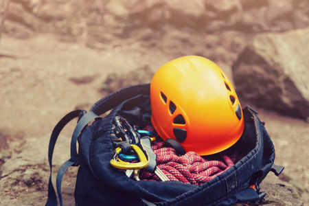Set of equipment for climbing sport outdoor. Stock Photo