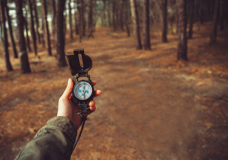 Hiker woman searching direction with a compass in the forest. View of hands. Point of view shot. Space for text in right left of image