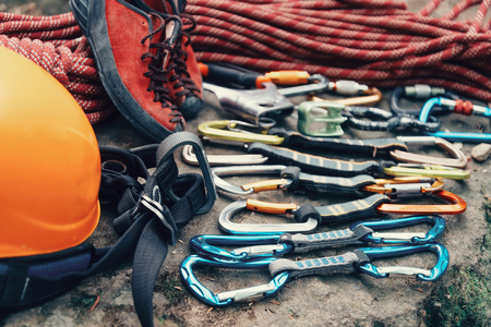 mountaineering: Set of outfit for climbing and mountaineering sport outdoor
