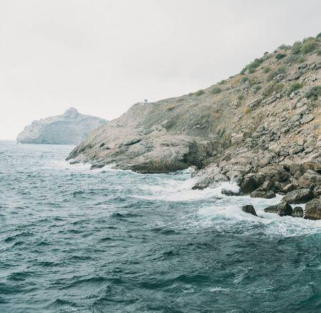 beautiful weather: Beautiful coastline at windy weather, nature background