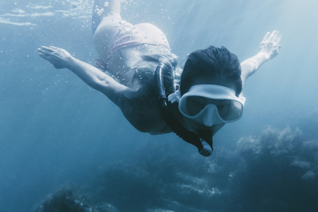Young woman free diver swimming underwater with mask and snorkel among seaweed. Stock Photo