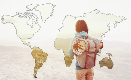 Double exposure image of traveler young woman with backpack and map of world.