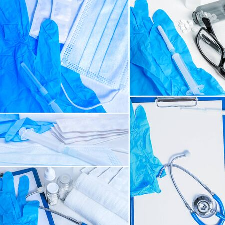 Ð¡omposition of medical objects in blue tones Imagens