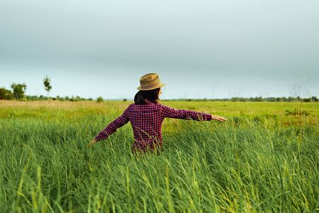 Hipster woman walks in summer meadow and touches green grass, space for text