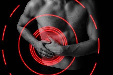 Dolor en el lado derecho del abdomen, zona de dolor de color rojo.