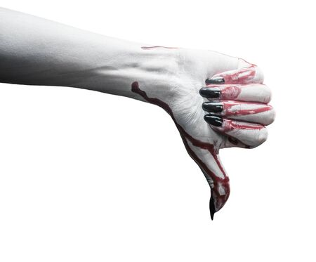 Vampire hand in blood with thumb downgesture on white background. Halloween or horror theme