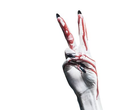 Vampire hand in blood on white background, peace hand sign. Halloween or horror theme