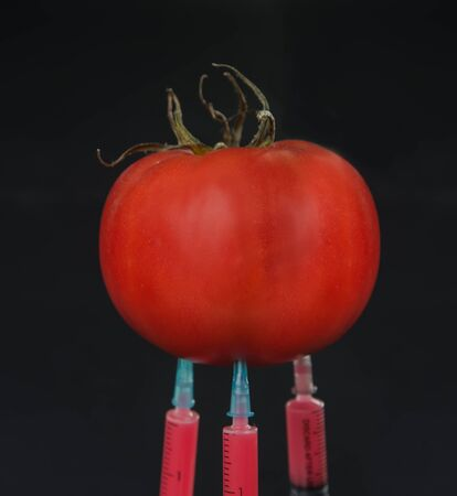 Red liquid in the syringe injected into tomato on a black background, close-up