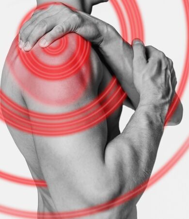 Acute pain in a male shoulder. Monochrome image, isolated on a white background. Pain area of red color.