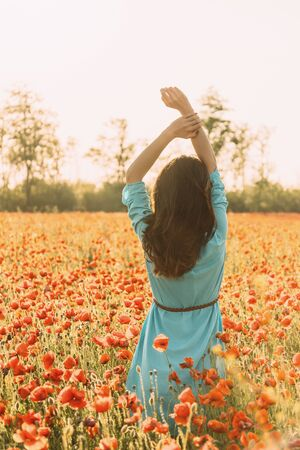 Rear view of romantic brunette young woman with hands up walking in poppy flower field in summer.