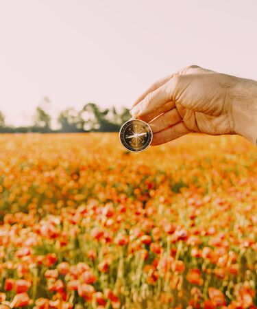 Male hand with compass searching direction on background of red poppies meadow in summer day, point of view. Imagens