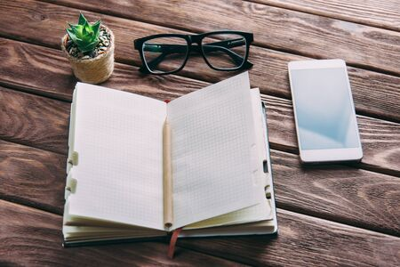 Notepad with pen, glasses and smartphone near a plant on a wooden table. Business working place. Stock Photo