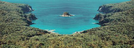 Beautiful island in the tropical sea lagoon