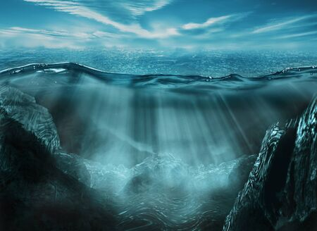 Beautiful deep ocean landscape with rays of light