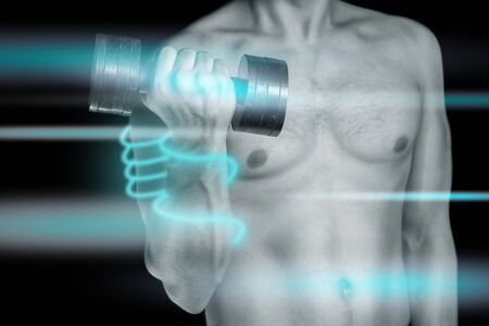 Man is exercising with a dumbbell. Line glow around the hand