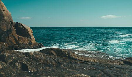 Beautiful seascape, rocky coastline. Nature background