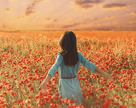 Unrecognizable young woman walking through poppy meadow and touching flowers, summer vacations.