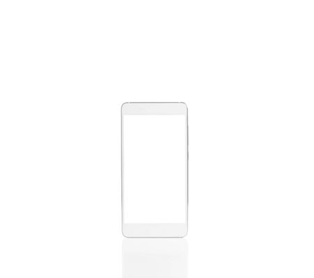 One blank smartphone with empty screen isolated on a white background, mock-up. Free space, no people.
