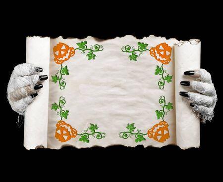 Halloween mummy holding scroll. Concept mummy halloween. Imagens - 128641020
