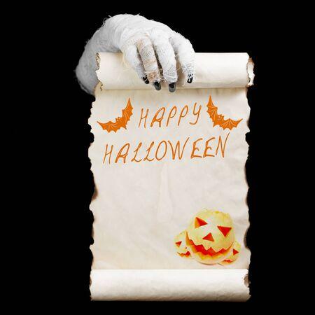 Mummy in hands keeps manuscript. Concept mummy halloween.