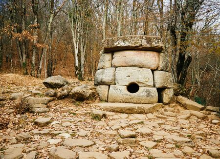Ancient mystery stone dolmen in the river valley Zhane, town Gelendzhik, North Western Caucasus, Russia