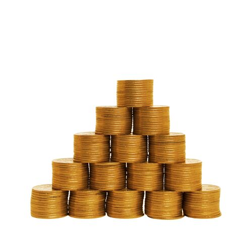 Financial pyramid made of coins. Concept of a growing finance