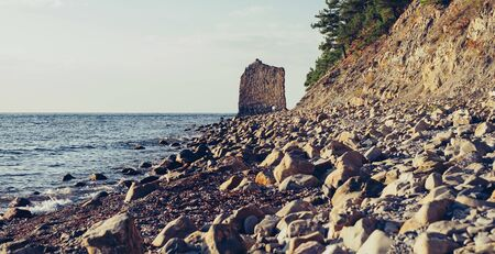 Stone rock Sail on coast of Black sea, Gelendzhik town, Russia Imagens