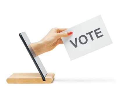 Female hand with a ballot come out from smartphone on a white background. Elections. Concept of remote online voting.