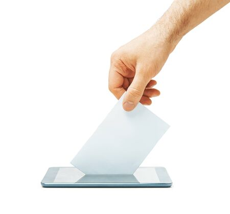 Male hand putting a blank ballot into a smartphone isolated on a white background. Elections. Concept of online voting.