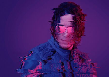 Portrait of serious young man with long hair in pink sunglasses in neon light. Image with glitch effect.