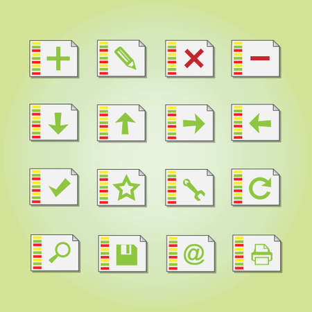 Basic vector document icons on colorful papers Illustration
