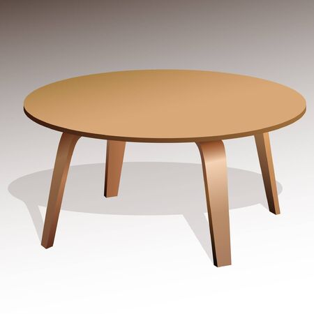 Rounded, small, brown wooden coffee table, with shadow