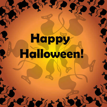Circle of Halloween black cats with text on orange background Stock Vector - 15253015