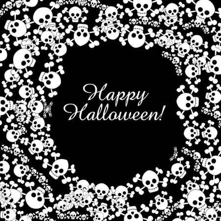 Circle of Halloween white skulls and crossbones on black background Stock Vector - 15253016
