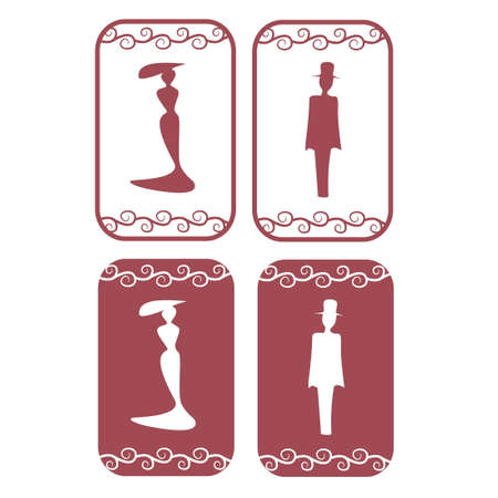 man and women wc sign: Red vector secession restroom symbols with frame and pattern