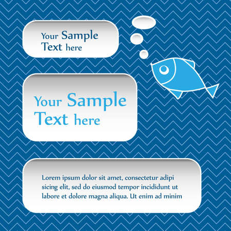 Abstract text bubbles with cartoon fish on blue background Stock Vector - 15798839