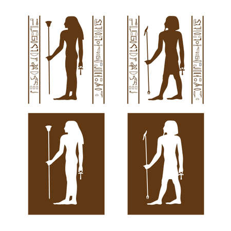 inverse: Brown vector Egyptian restroom symbols with hieroglyph frame Illustration