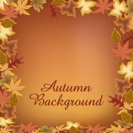 Circle of autumn leaves with text on brown background Stock Vector - 15979947
