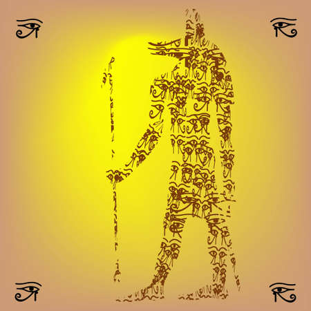 Shape of Anubis made eyes of Horus on yellow background