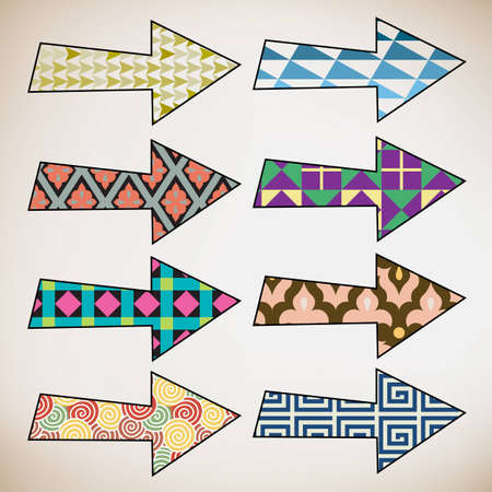 Colorful retro pattern hand drawn arrows