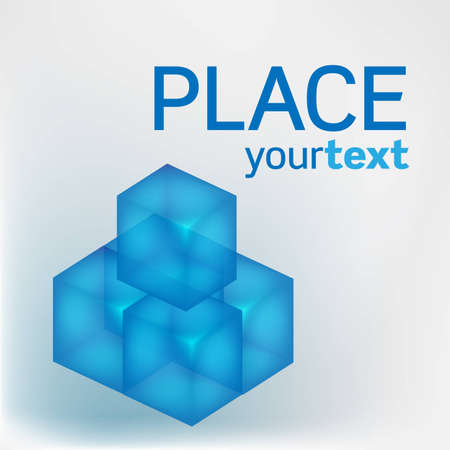 Five 3D blue transparent cubes with text Vector