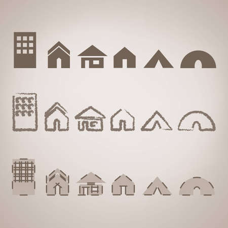 shack: Brown home icons set