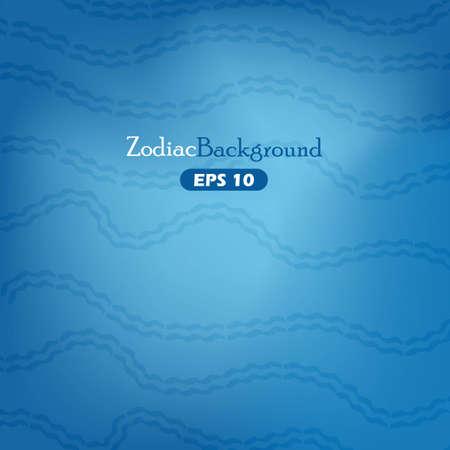 Aquarius zodiac symbols blue background