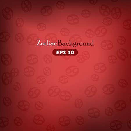 Cancer zodiac symbols on red background