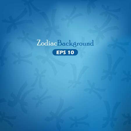 Piscs zodiac symbols on golden blue background Vector