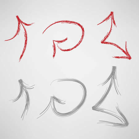 Red and gray hand drown arrows Vector