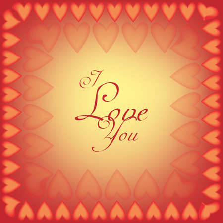 Orange and red I love you card with hearts Vector