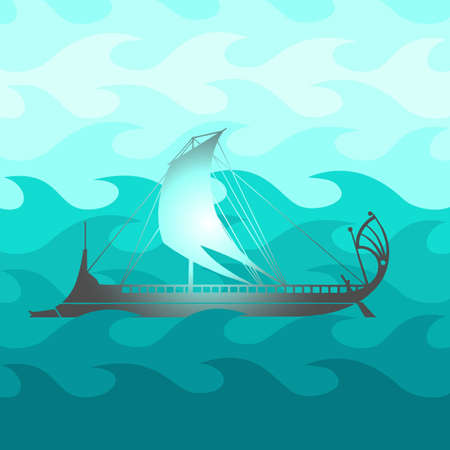 Cartoon sea with ship Vector