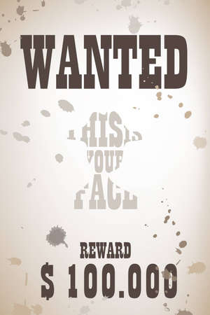 cowboy background: Wanted poster with cowboy kalligram